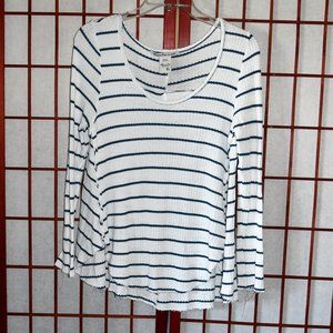 American Rag Long Sleeve Thermal Raw Hem Top